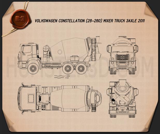 Volkswagen Constellation (26-260) Mixer Truck 3-axle 2011 Blueprint