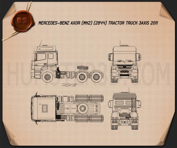 Mercedes-Benz Axor Tractor Truck 2011 Blueprint