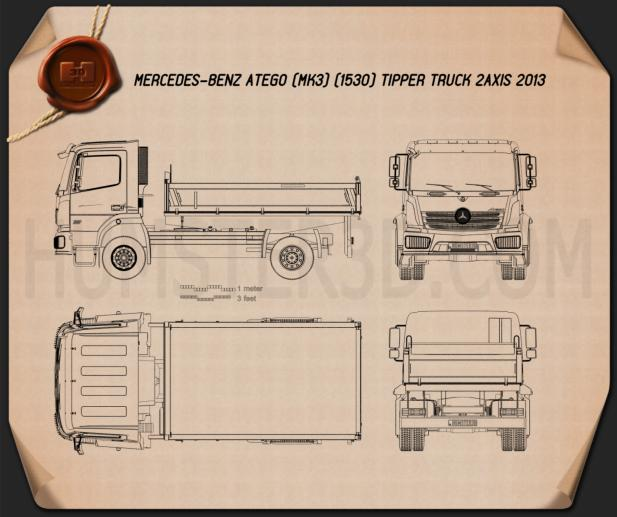 Mercedes-Benz Atego Tipper Truck 2013 Blueprint