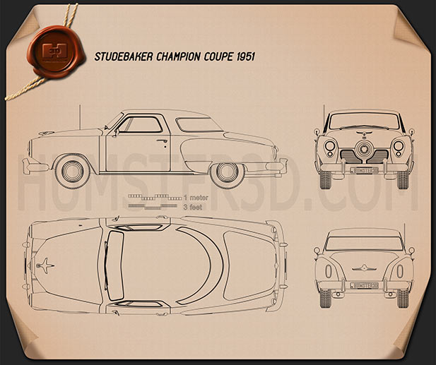 Studebaker Champion (Commander) hardtop 1951 Blueprint