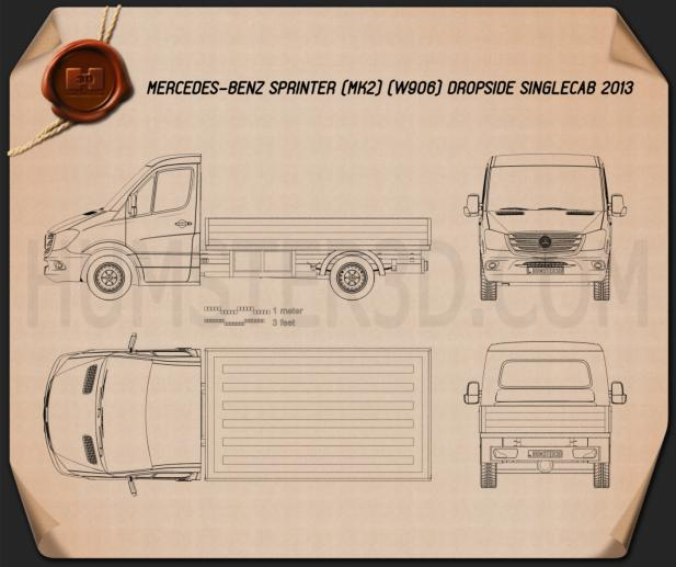Mercedes-Benz Sprinter Drop Side Single Cab 2013 Blueprint
