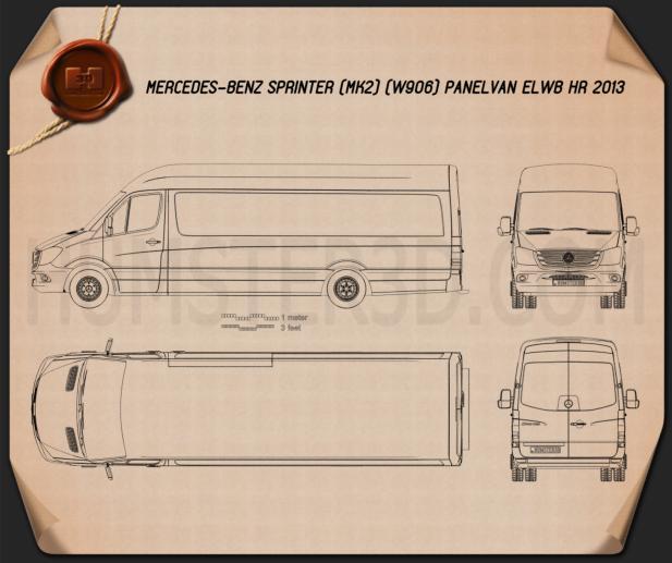 Mercedes-Benz Sprinter Panel Van ELWB HR 2013 Blueprint
