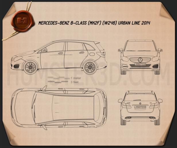 Mercedes-Benz B-Class (W246) Urban Line 2014 Blueprint
