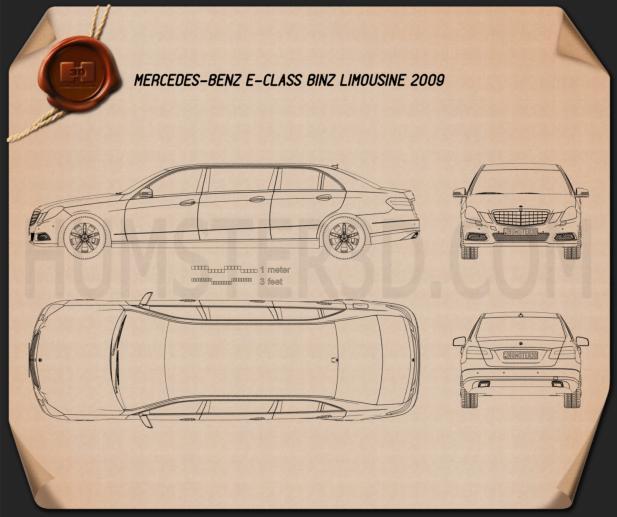 Mercedes Binz E-class Limousine Blueprint