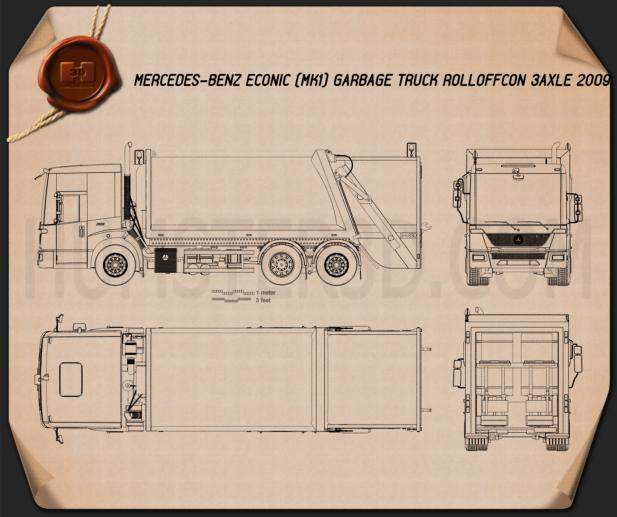 Mercedes benz econic garbage truck blueprint hum3d for Mercedes benz maintenance plan