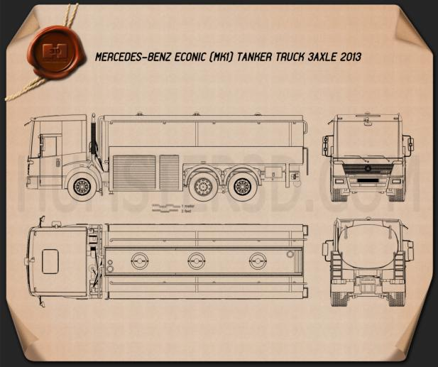 Mercedes-Benz Econic Tanker Truck 2013 Blueprint