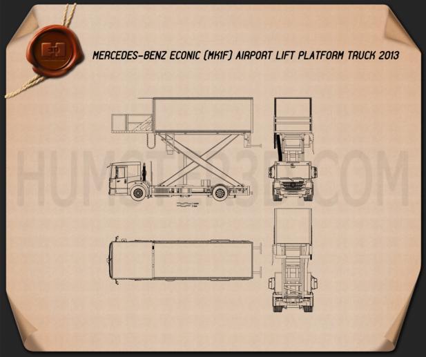 Mercedes-Benz Econic Airport Lift Platform Truck Blueprint