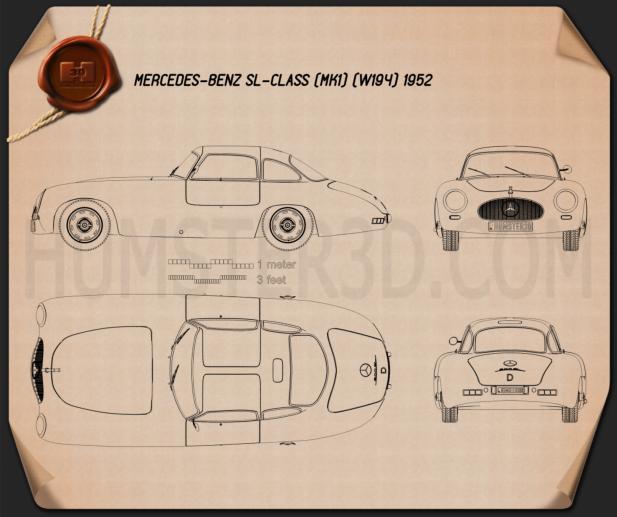 Mercedes-Benz SL-Class (W194) 1952 Blueprint
