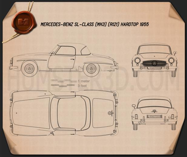 Mercedes-Benz SL-class (R121) hardtop 1955 Blueprint