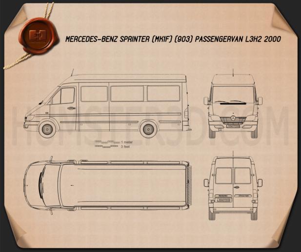 Mercedes-Benz Sprinter (903) Passenger Van L3H2 2000 Blueprint