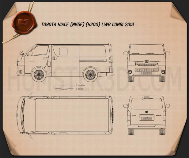 Toyota HiAce LWB Combi 2013 Blueprint