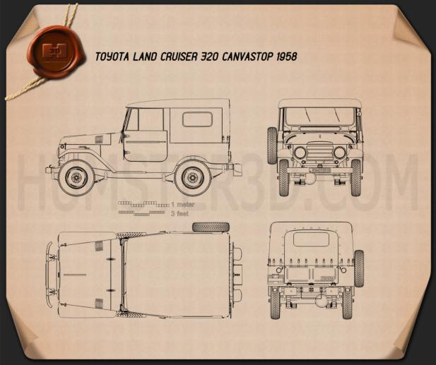 Toyota Land Cruiser (J20) softtop 1958 Blueprint