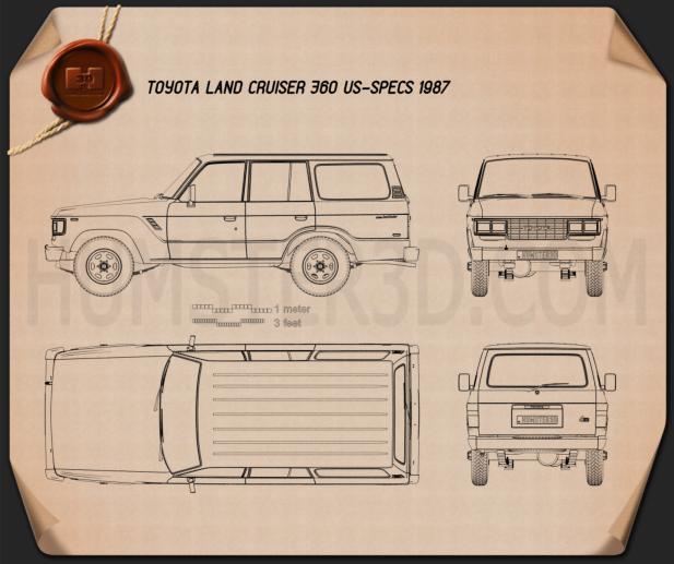 Toyota Land Cruiser (J60) US 1987 Blueprint