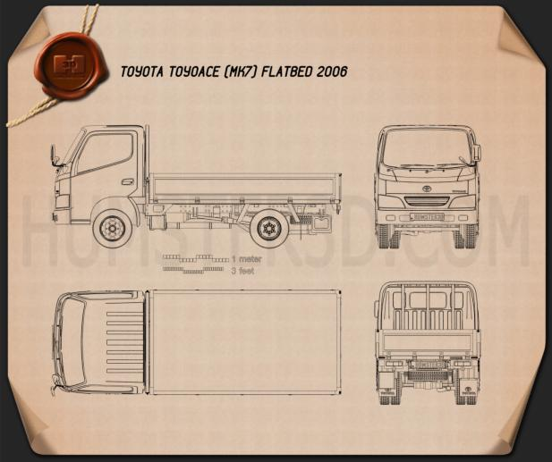 Toyota ToyoAce Flatbed 2006 Blueprint