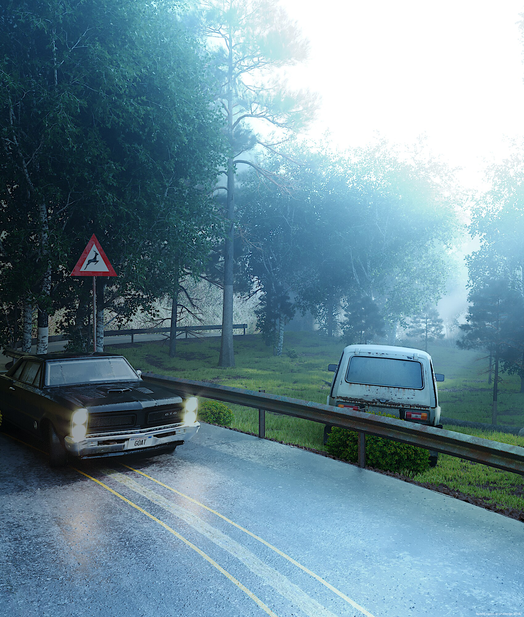 Forest Road Car 3d art