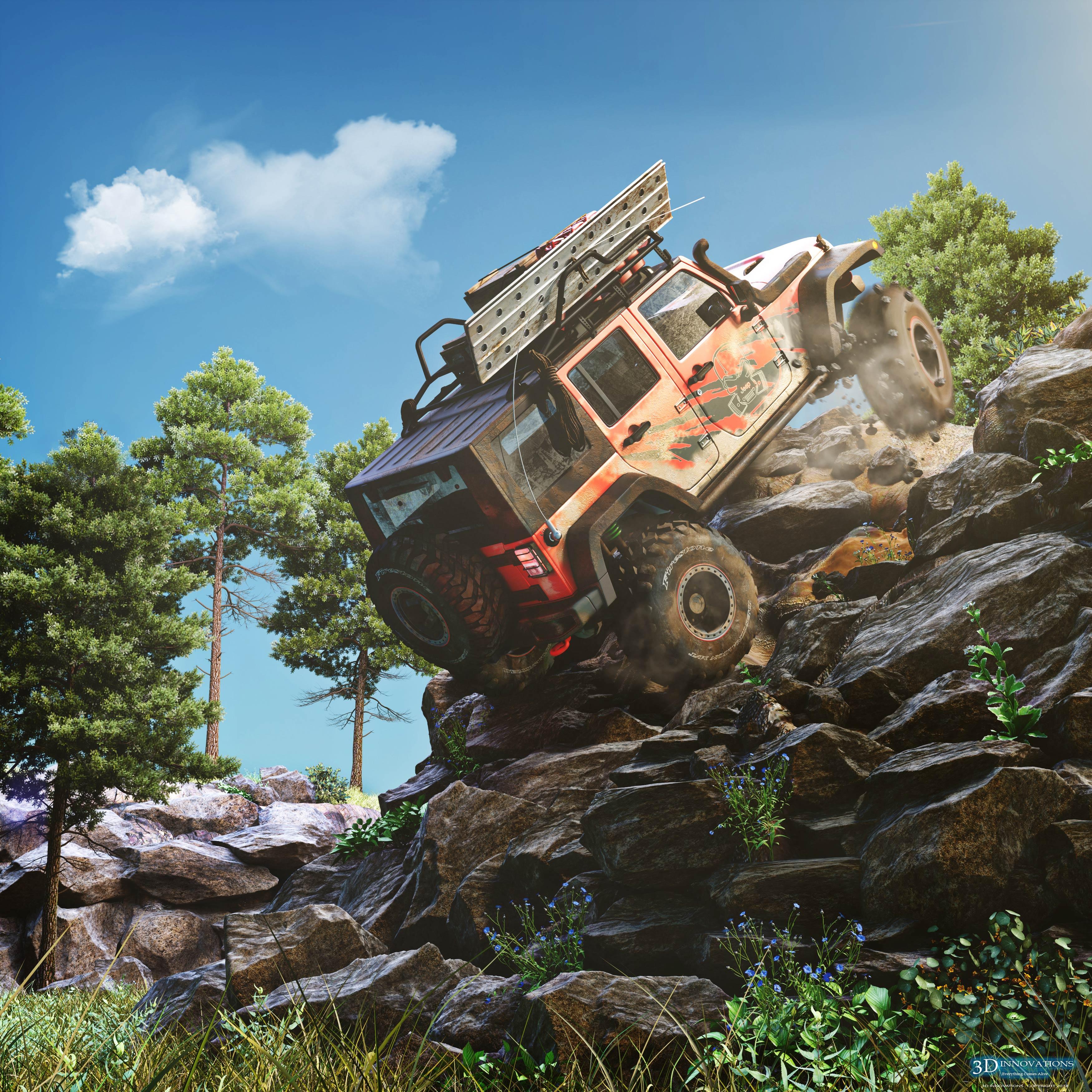 Rock Climbing Jeep 3d art
