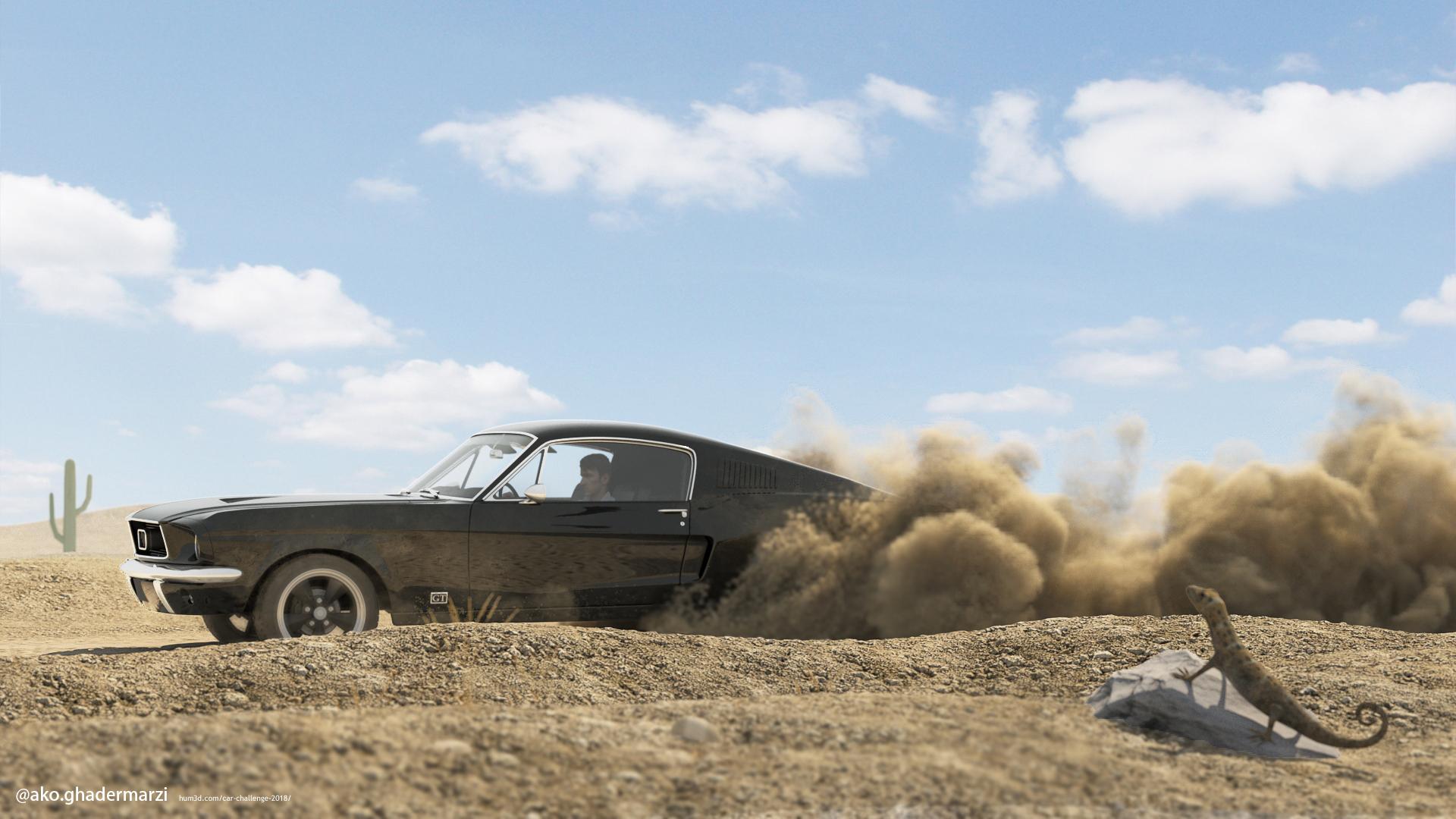 Ford mustang 1967 Bullit 3d art