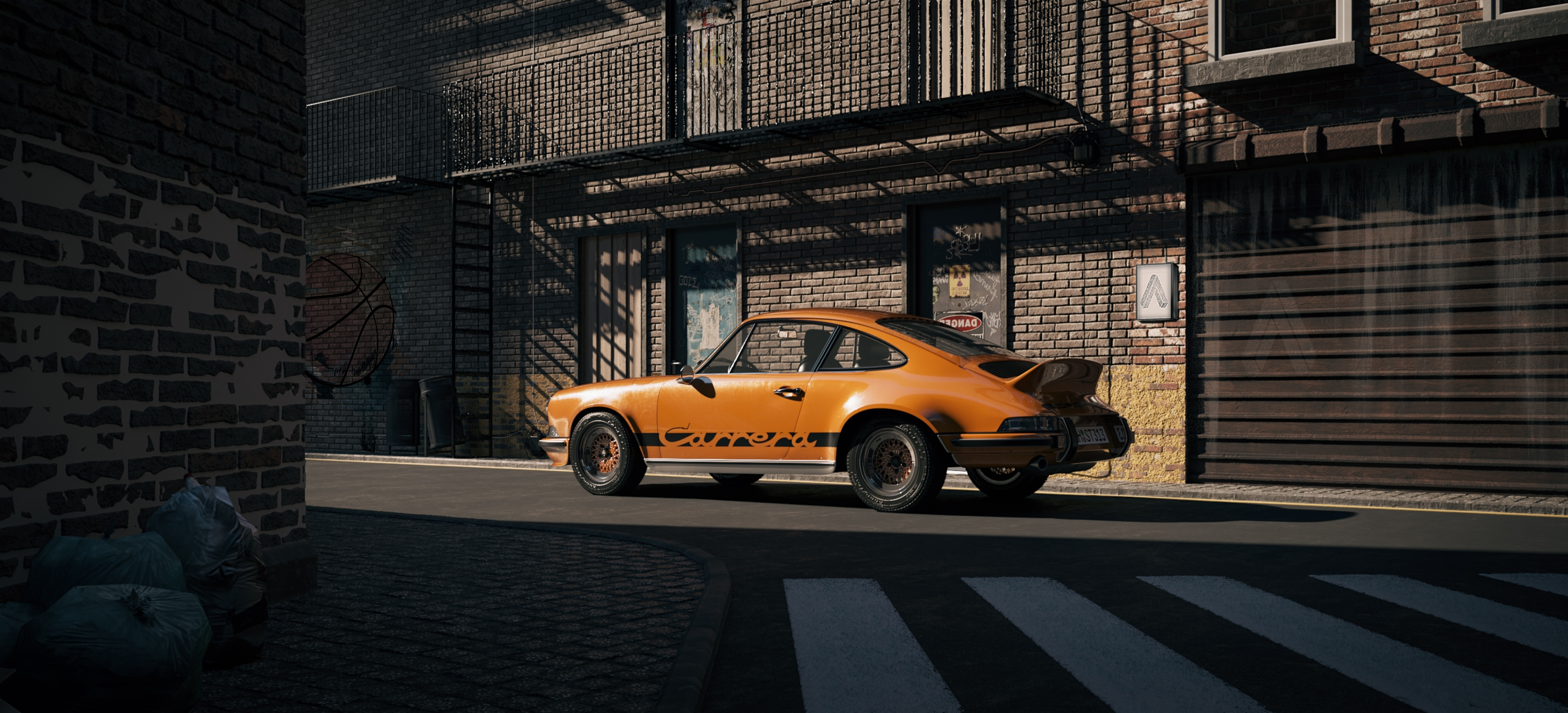One day in suburbia – Porsche 911 RS 3d art
