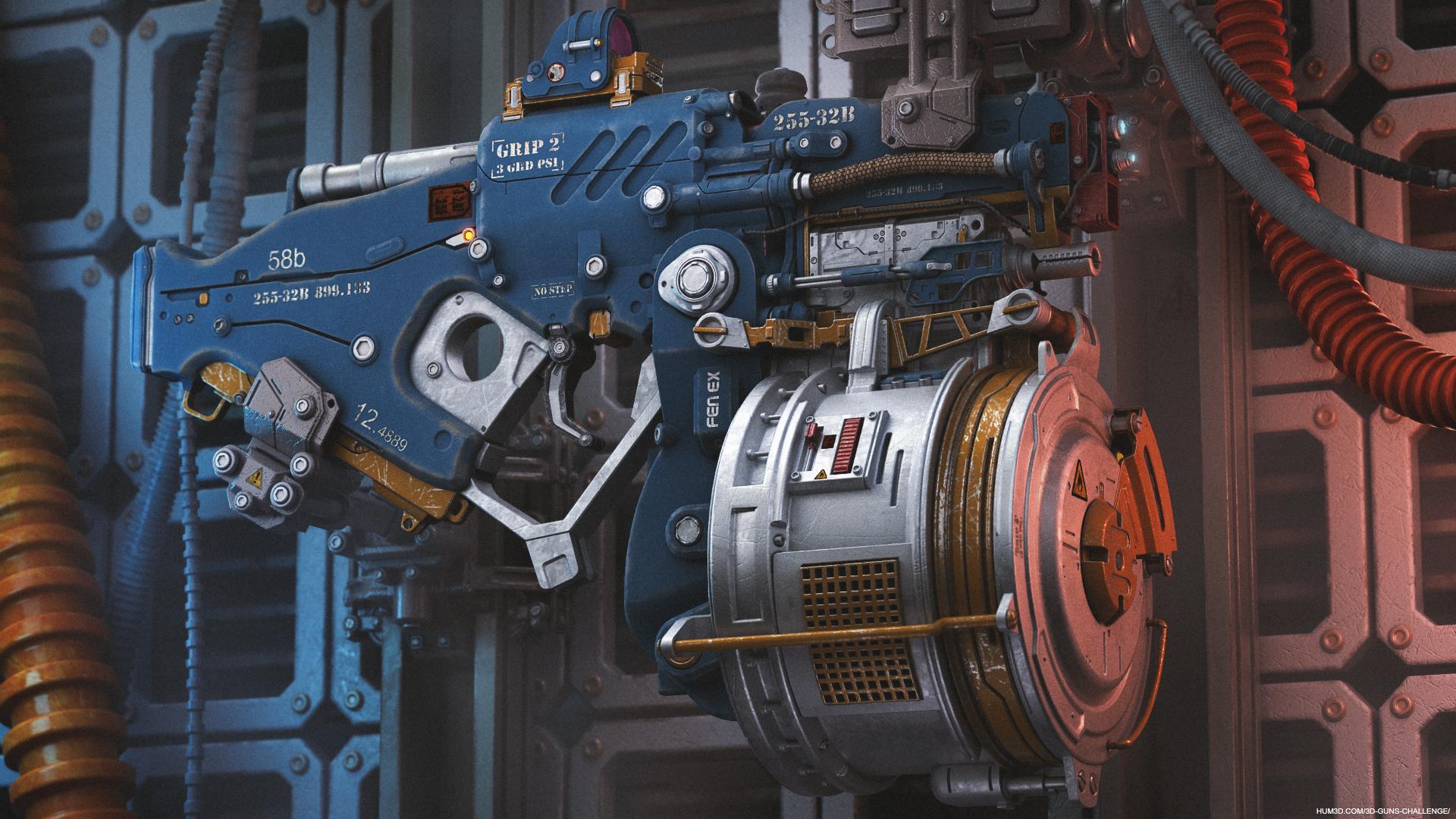 Sci-fi laser gun 3d art