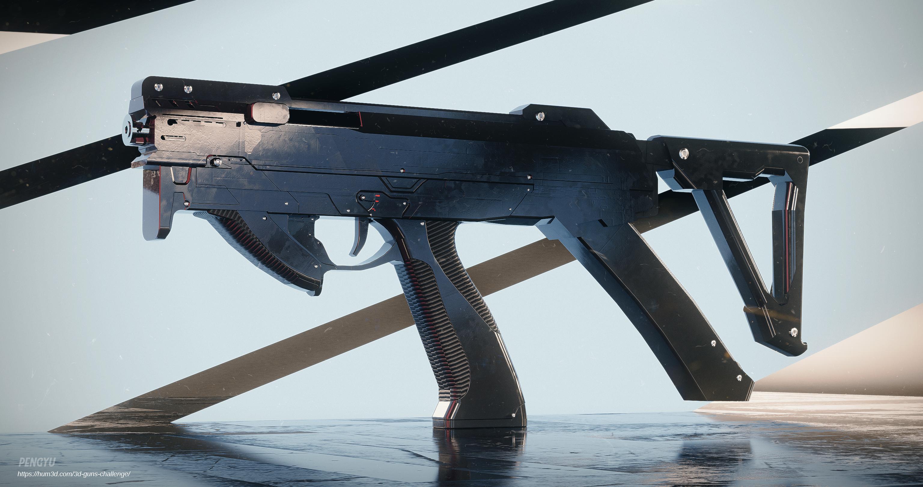 Compact PDW gun 3d art