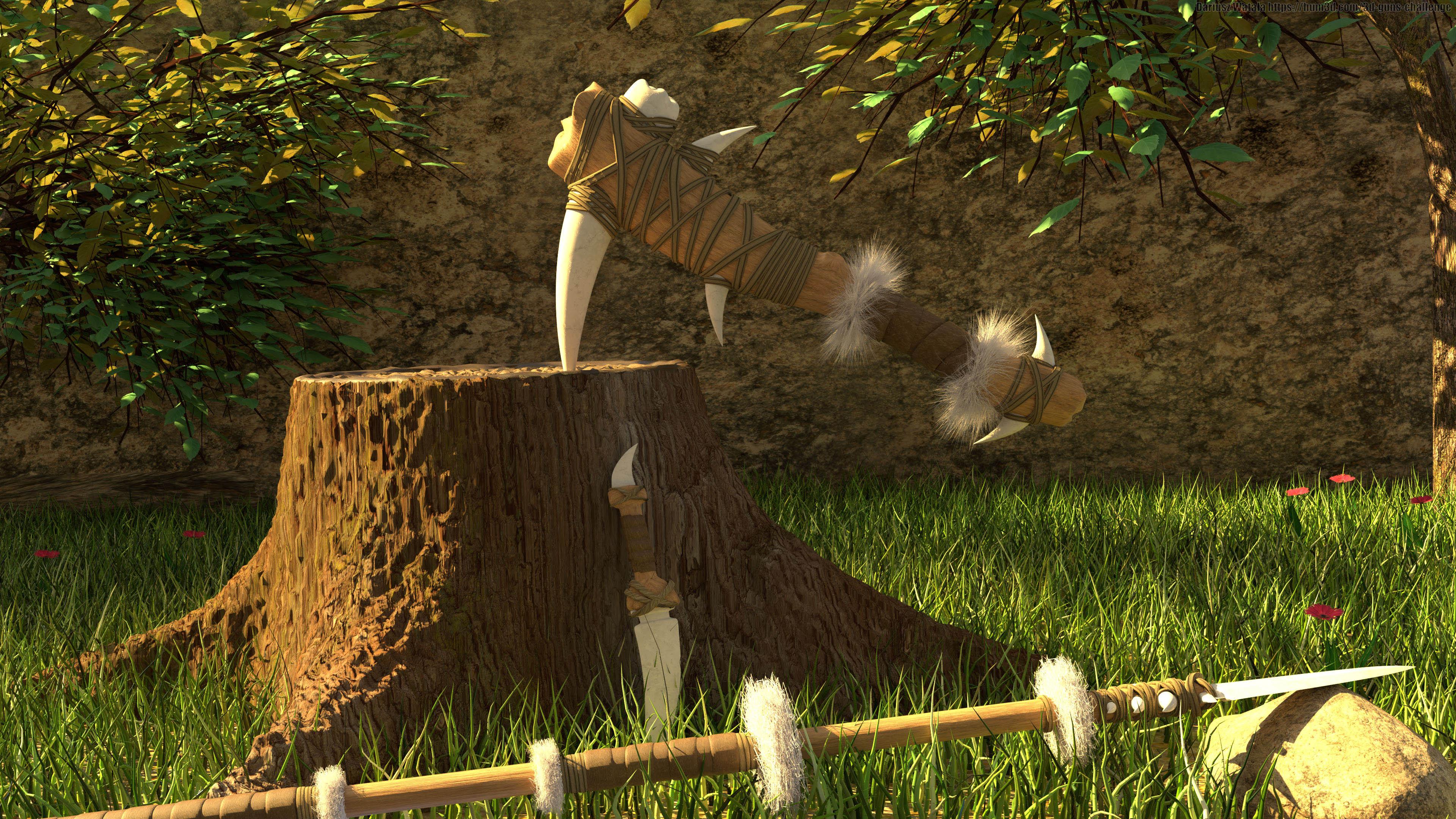 The Paleolithic era weapon set 3d art