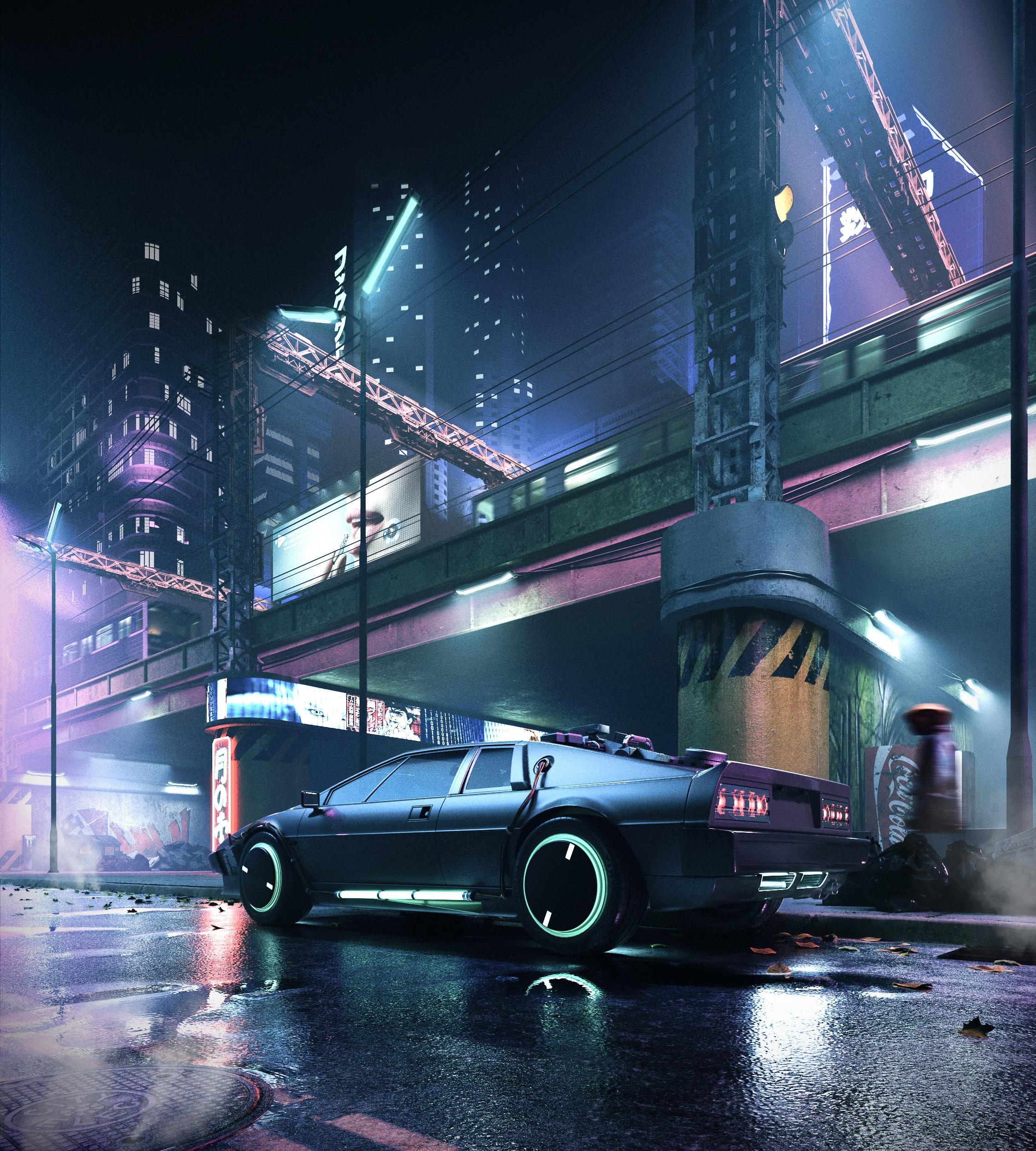 Cyberpunk Streets 3d art