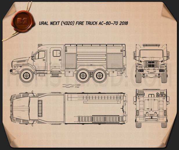 Ural Next Fire Truck AC-60-70 2018 Blueprint