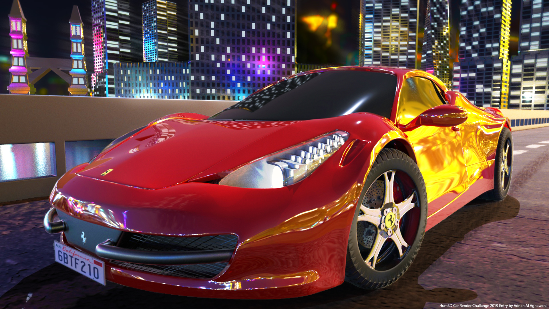 Driving Ferrari 458 italia 2013 in a modern city 3d art