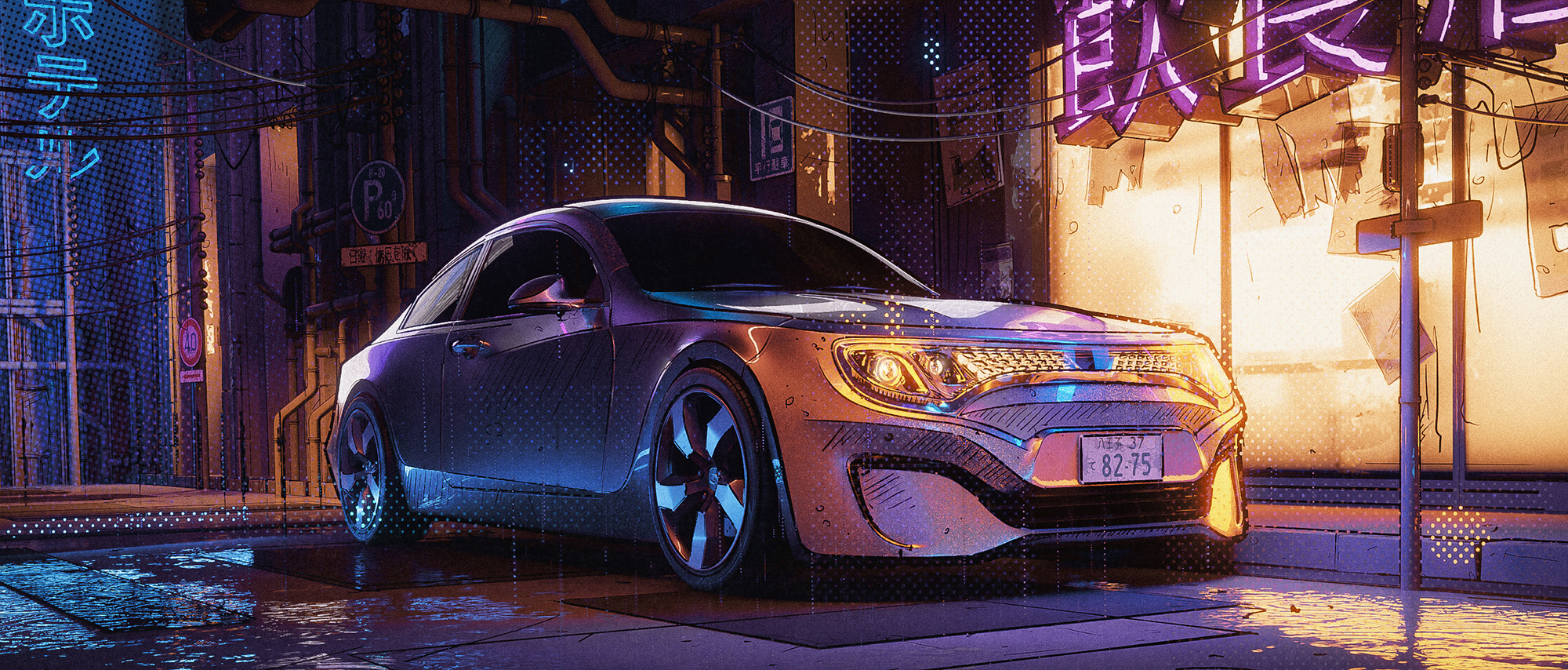 Neon Car 3d art