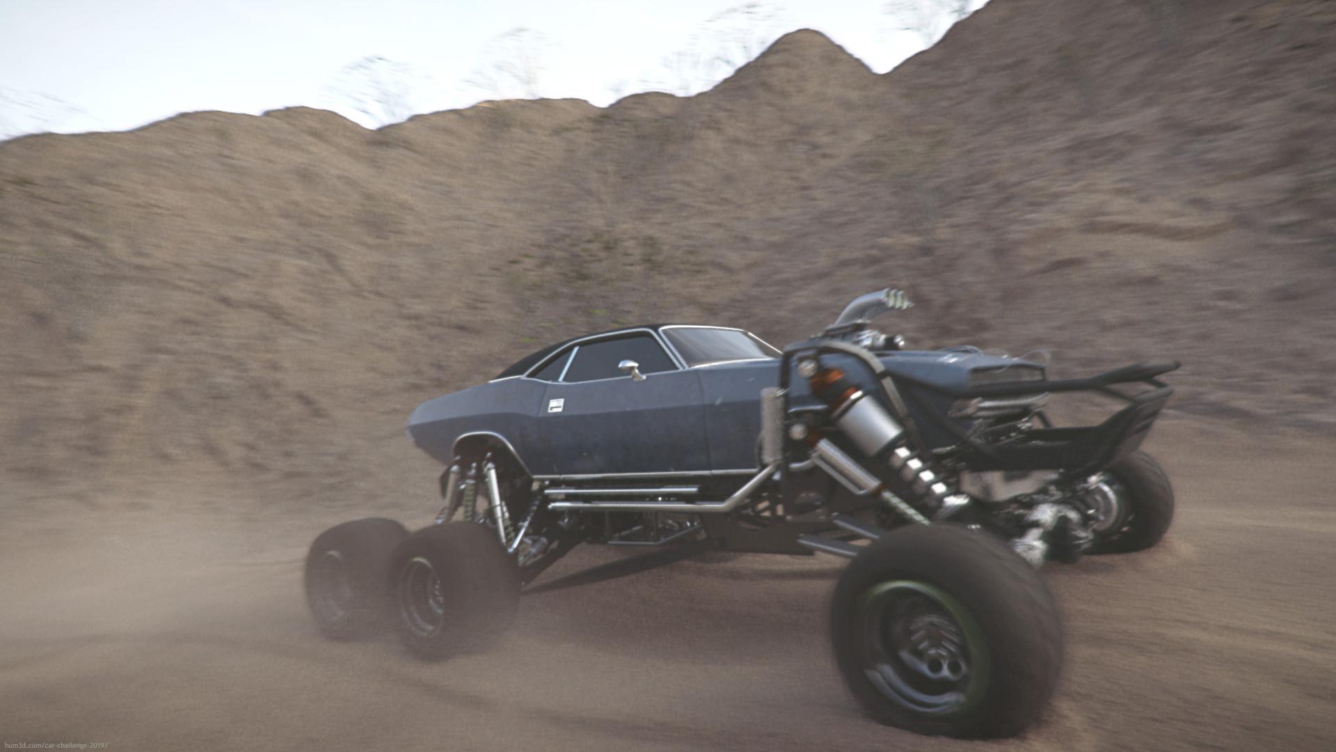 Dodge Challenger Bigfoot 3d art