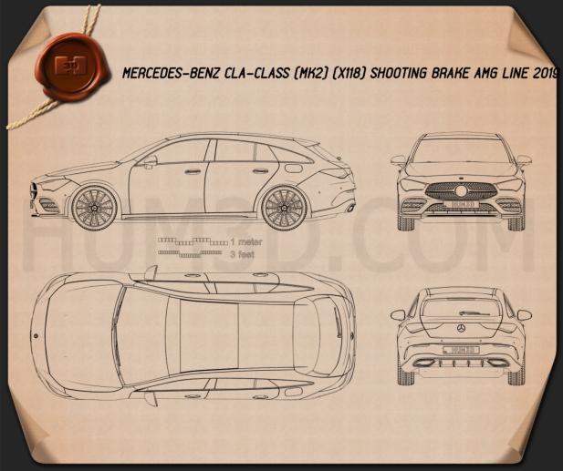 Mercedes-Benz CLA-class Shooting Brake AMG-Line 2019 Blueprint