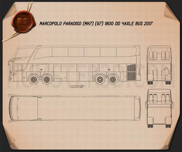 Marcopolo Paradiso G7 1800 DD 4-axle Bus 2017 Blueprint