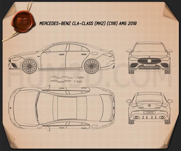 Mercedes-Benz CLA-class AMG 2019 Blueprint