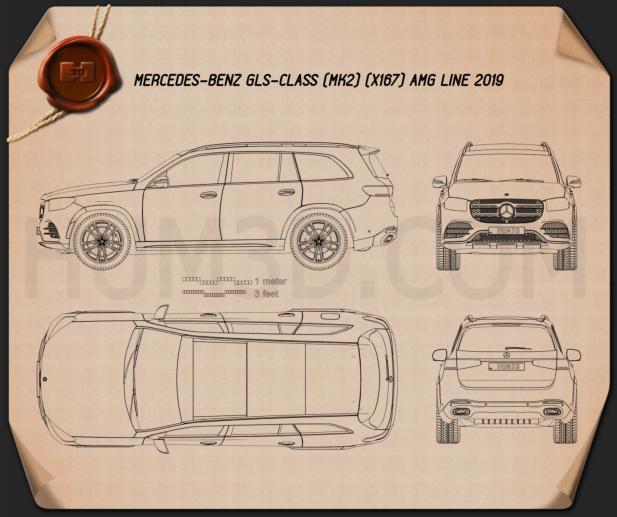 Mercedes-Benz GLS-class AMG-Line 2019 Blueprint