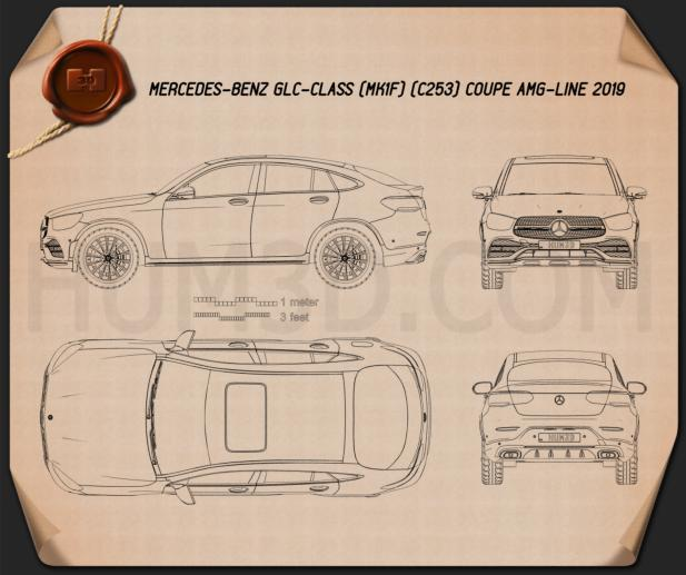 Mercedes-Benz GLC-class AMG-Line coupe 2019 Blueprint