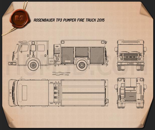 Rosenbauer TP3 Pumper Fire Truck 2015 Blueprint