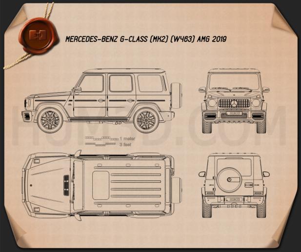 Mercedes-Benz G-class (W463) AMG 2019 Blueprint