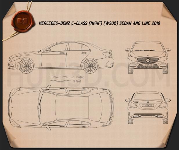 Mercedes-Benz C-Class AMG-line sedan 2018 Blueprint