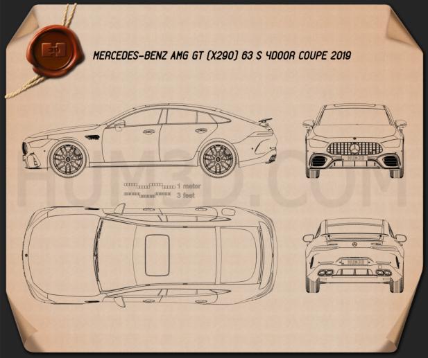 Mercedes-Benz AMG GT63 S 4-door coupe 2019 Blueprint