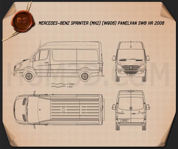 Mercedes-Benz Sprinter Panel Van SWB HR 2006 Blueprint