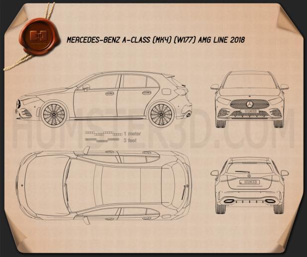 Mercedes-Benz A-class (W177) AMG Line 2018 Blueprint