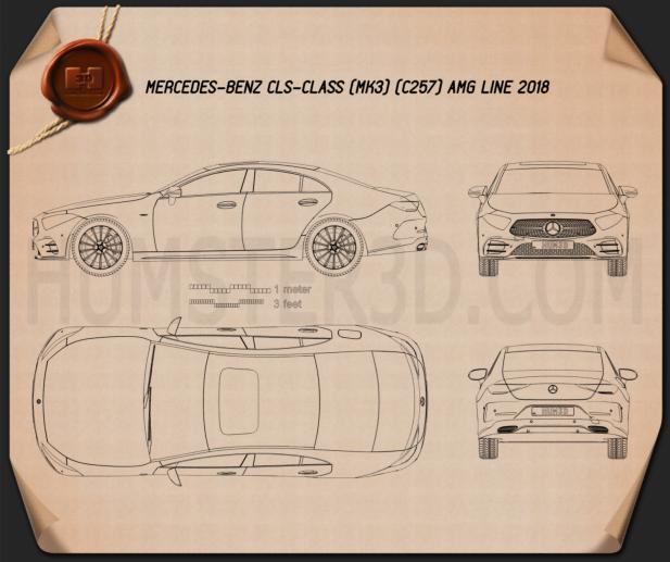 Mercedes-Benz CLS-class (C257) AMG Line 2018 Blueprint