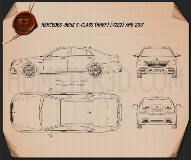Mercedes-Benz S-class (V222) AMG 2017 Blueprint