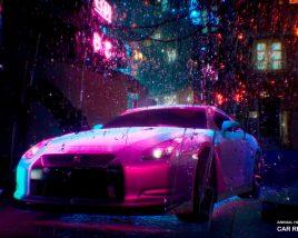 Nissan GTR R35 in the rain in the style of Cyberpunk