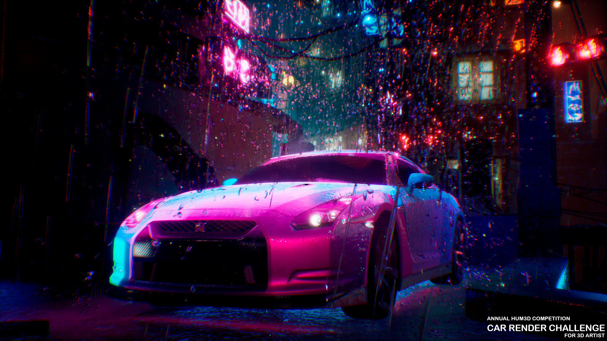 Nissan GTR R35 in the rain in the style of Cyberpunk 3d art