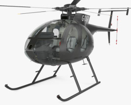 MD Helicopters MD 500 with Cockpit HQ interior 3D model