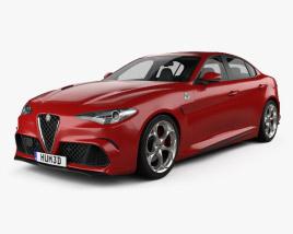 Alfa Romeo Giulia Quadrifoglio with HQ interior 2016 3D model