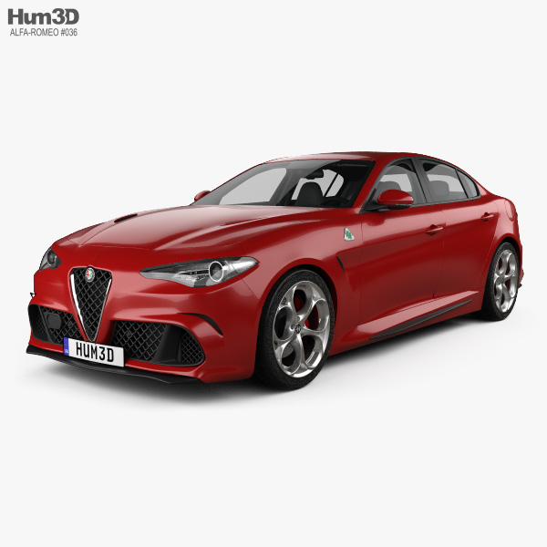Alfa romeo giulia quadrifoglio with hq interior 2016 3d - Alfa romeo giulia interior dimensions ...