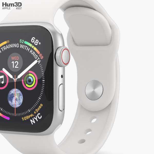 reputable site 473e8 f6b49 Apple Watch Series 4 40mm Silver Aluminum Case with White Sport Band 3D  model