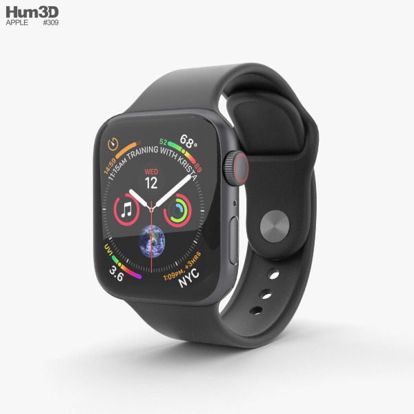 low priced 9c9ca a92f8 Apple Watch Series 4 40mm Space Gray Aluminum Case with Black Sport Band 3D  model